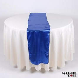 10 Satin Table Runners Sashes Cloth [Blue]